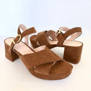 New Zara Tan Block Heel Sandals